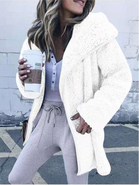 Cashmere Shawl Collar Solid Long Sleeve Teddy Bear Coats