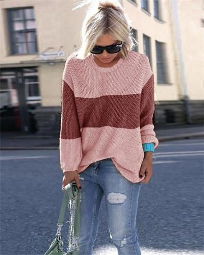 Women's Patchwork Round Neck Knits Sweater Pullover Tops