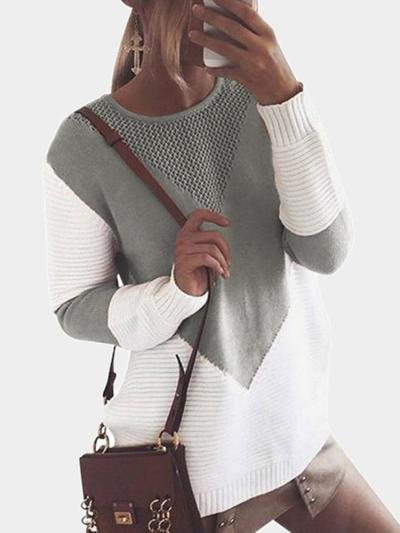 Knitting Patchwork Sweaters with Hollow Out Design Tops