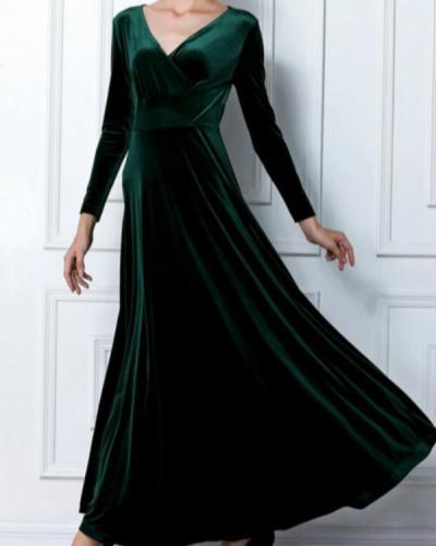 Women's Velvet Plus Size Solid Colored High Waist V Neck Party Dress