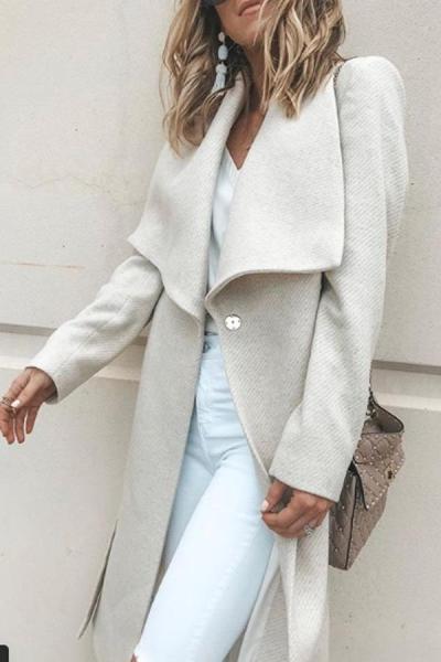 Fold Over Collar Belt Plain Outerwear