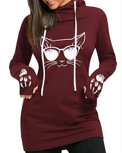 Women's Cat Print Hoodies Pullover Cute Thumb Hole Hooded Sweatshirts