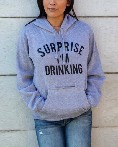 Letter Printed Pullover Sweatshirt