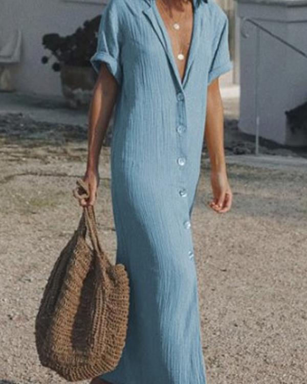 Short Sleeve Button up Casual Solid Shirt Dress Maxi Dress
