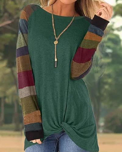 Casual Color-Block Striped Long Sleeve T-Shirts