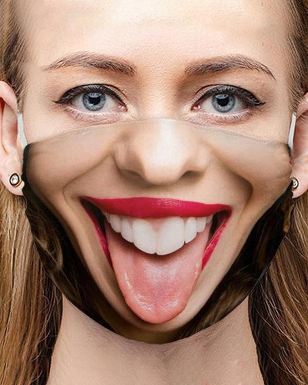 Face Expression Colorblock Breathable Cotton Face Accessory  Mask