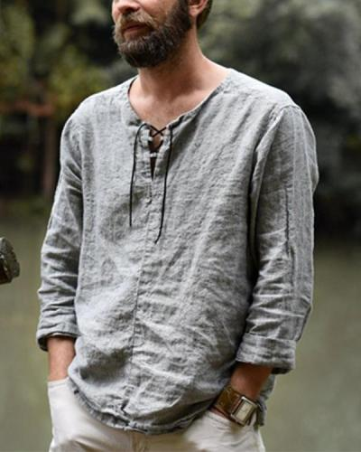 Solid Color Casual Men's Long Sleeve Tops