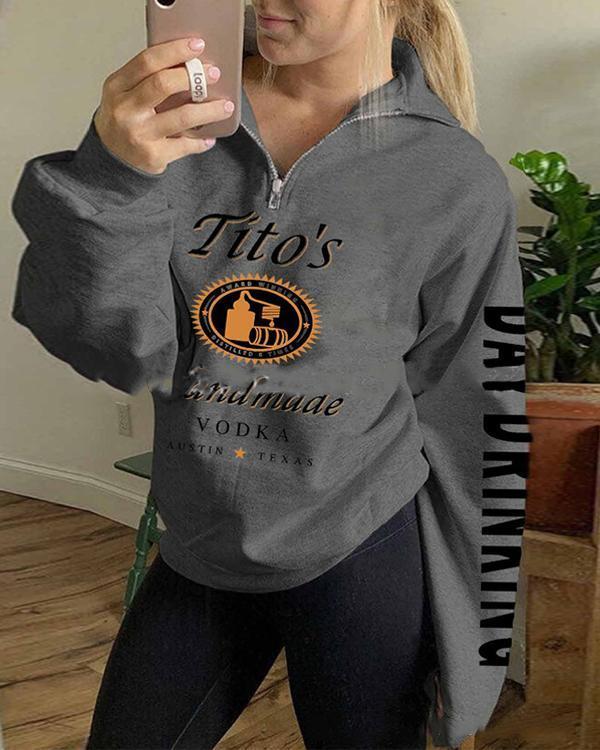 Printed Zip Casual Sweatshirt
