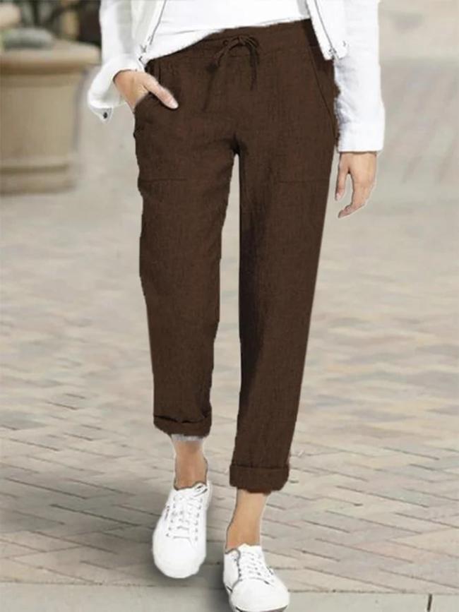 Plus Size Solid Color Casual Elastic Waist Pants