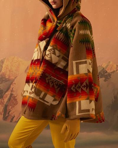 Geometric Gradient Jacquard Paneled Bohemian Hooded Coat