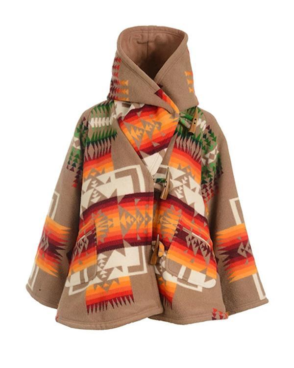 Geometric Gradient Jacquard Paneled Bohemian Hooded Coat