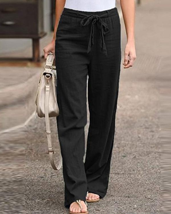 Plus Size Women's Linen Cotton Straight Pants