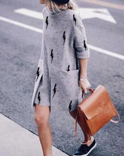 Casual Loose Round Neck Long Sleeve Dress