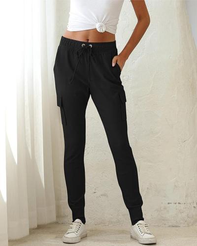 Pocket Design Drawstring Tied Cargo Pants