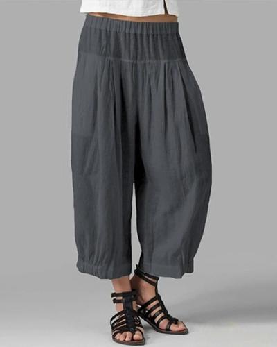 Casual Women Solid Cotton Elastic Waist Pants