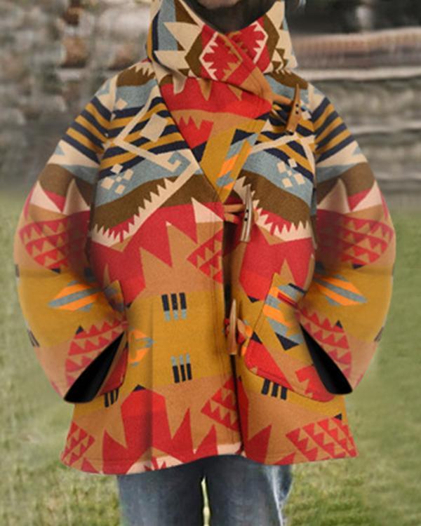 Bohemian Abstract Geometric Jacquard Horn Buckles Hooded Coat