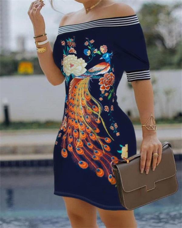 Figure Print Striped Tape Bodycon Dress
