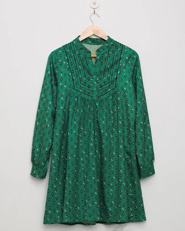 Geometric Print Buttoned V-neck Vintage Paneled Pleated Midi Dress