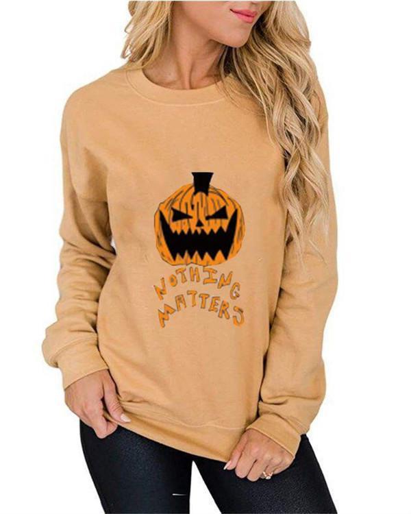 Pumpkin Print Graphic Sweatshirt