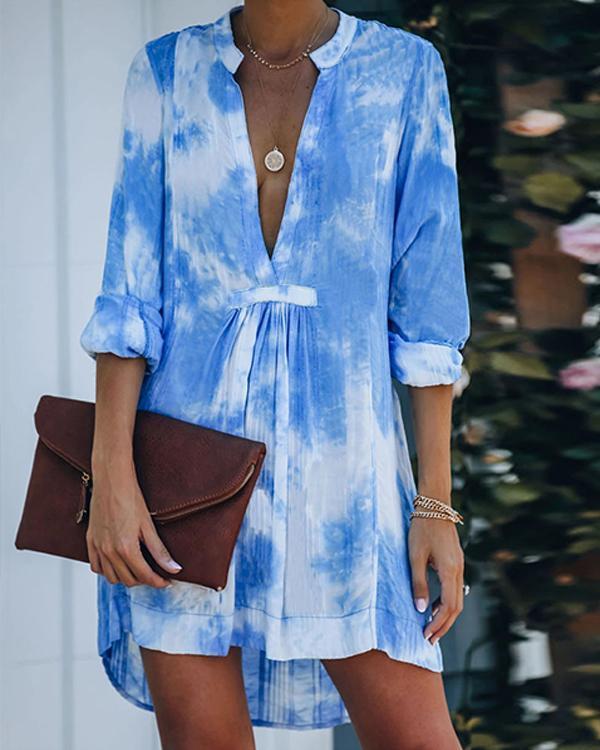 Sky Blue Gradient Print Plunging Neck High Low Elegant Mini Dress