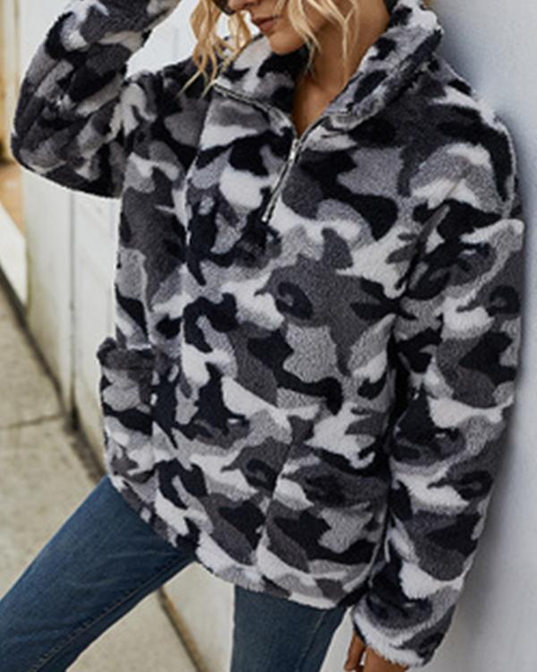 Plaid Camouflage Print Plush Long Sleeve Sweatshrit For Women