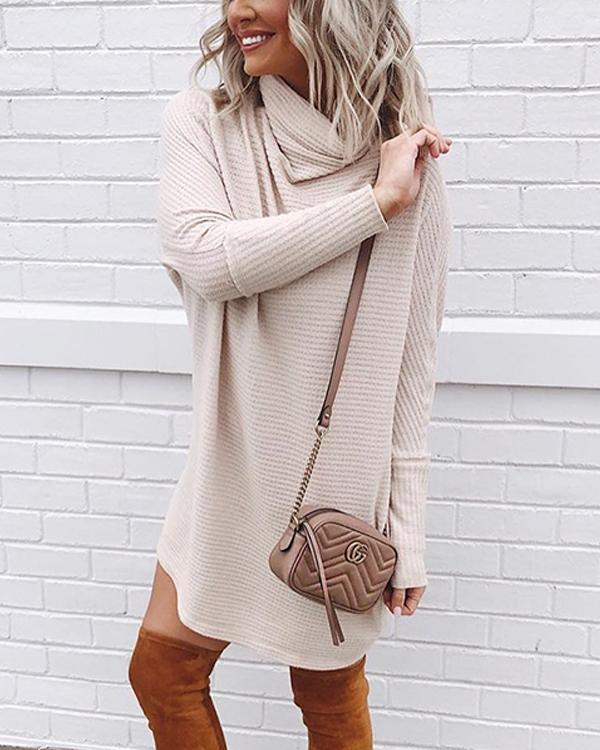 Womens Long Sleeve Casual Knitted High Collar Sweater Dress