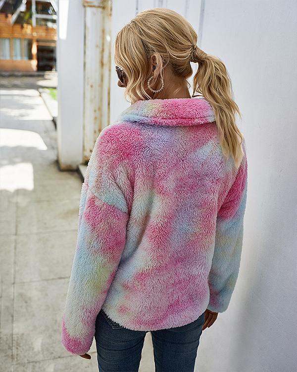 Print Plush Long Sleeve Sweatshrit For Women