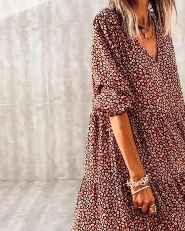 Bohemian Print Long Sleeve A-Line Flowy Layer Maxi Dress