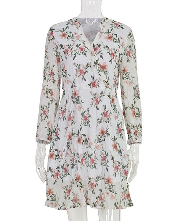 Fashion Sweet Floral Print Elastic Waist Pleated Mini Dress