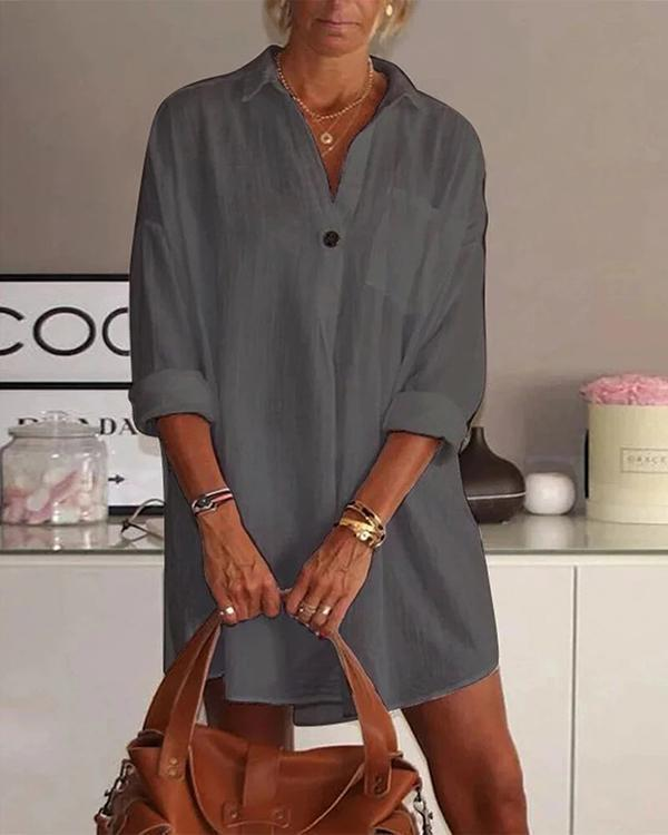 Solid Color Turn-down Collar Long Sleeve Dress