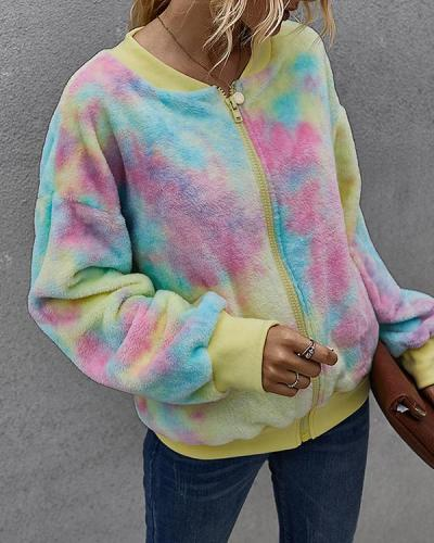 Women's Zipper Winter Teddy Coat Regular Tie Dye Daily Basic Outerwear