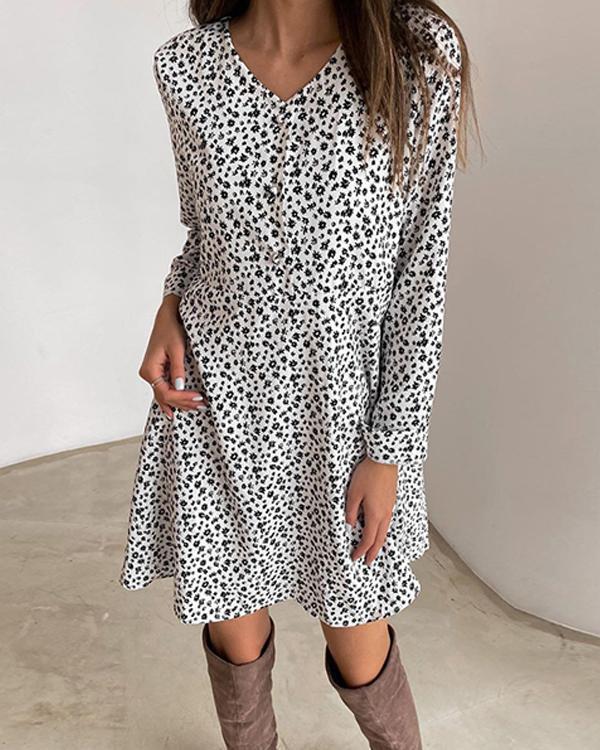 Fashion Print Long Sleeves Shift Above Knee Casual Dresses