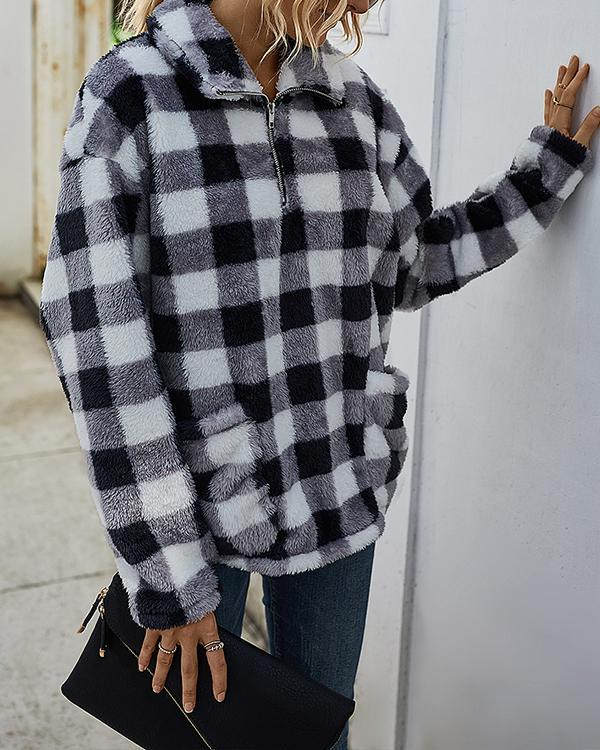 Plaid Camouflage Print Plush Long Sleeve Sweatshrit For Women