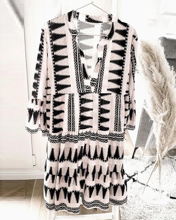 Geometric Print 3/4 Sleeves Shift Knee Length Casual/Vacation Dresses
