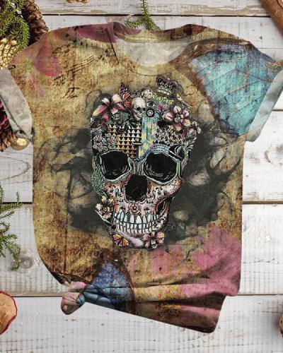 Women Plus Size Halloween Skull Flower Print Short Sleeve T-Shirts