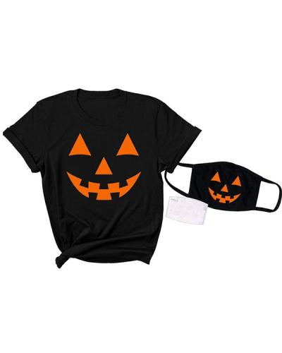 Women Plus Size 3PC Halloween Print Short Sleeve T-Shirts with Mask