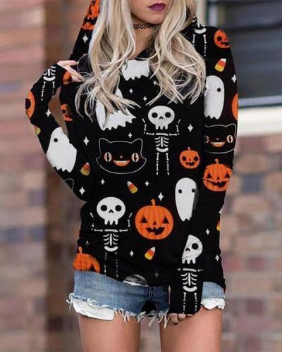 Women Halloween Print Casual Cotton Long Sleeve Cute Hoodies Sweatshirts