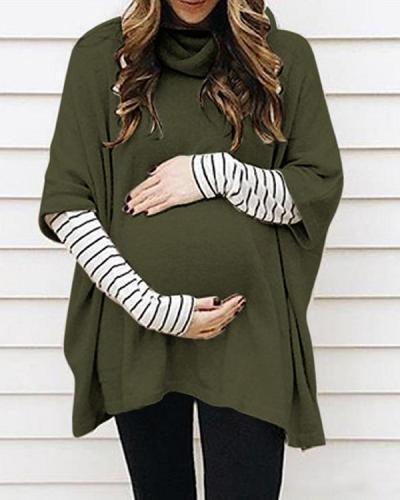 Maternity Half Sleeve High Neck Loose Sweatershirts