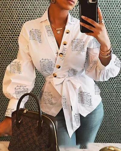 Women Letter Print Lace up Lantern Sleeve Button Decor Shirts Blouses