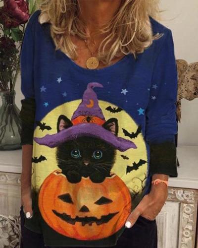 Women Halloween Pattern Long Sleeve Shirts