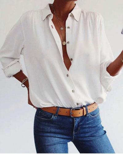 Women Lapel Solid V Neck Button Shirts Blouses