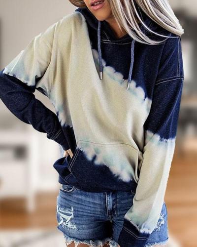 Women's Color Block Fleece Pullover Long Sleeve Pockets Hoodies Top
