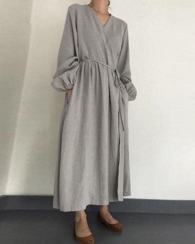 Women Plus Size V Neck Lantern Sleeve Drawstring Cotton Linen Dress