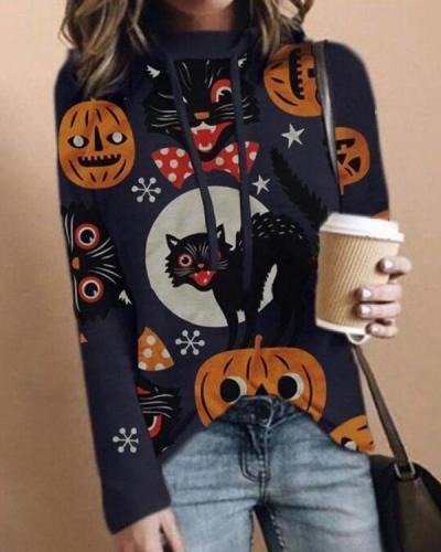 Women Print Casual Long Sleeve Loose Halloween Hoodies