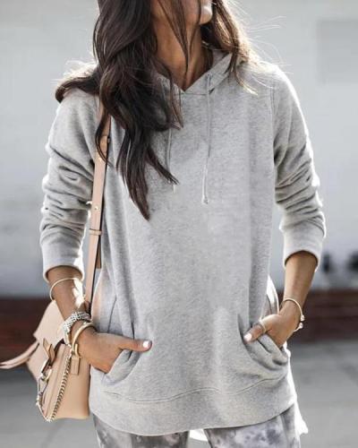 Solid Casual Hooded Pockets Sweatshirts