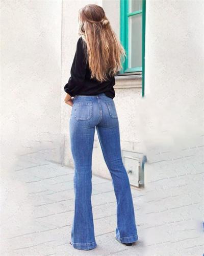 Women's  Vintage Mardarin Loose Fashion Denim Bottoms Jeans Pants
