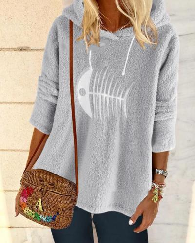 Women's Hoodied Long Sleeve Printed Shift Casual Sweatshirt  Tops