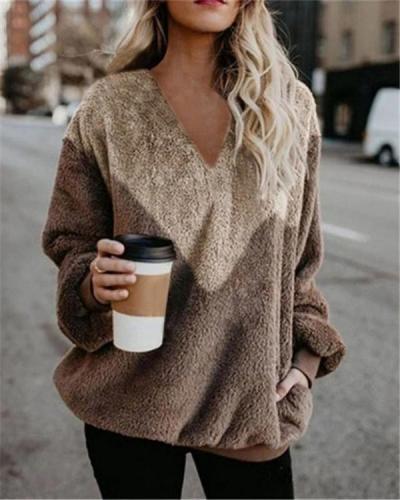 Women's Fall New Long Sleeve V Neck Daily Sweatshirt