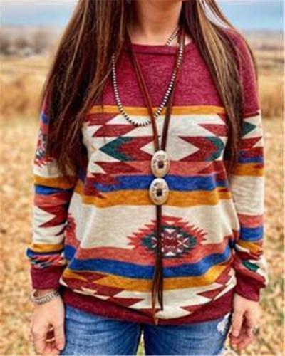 Geometric Long Sleeve Shirts & Tops
