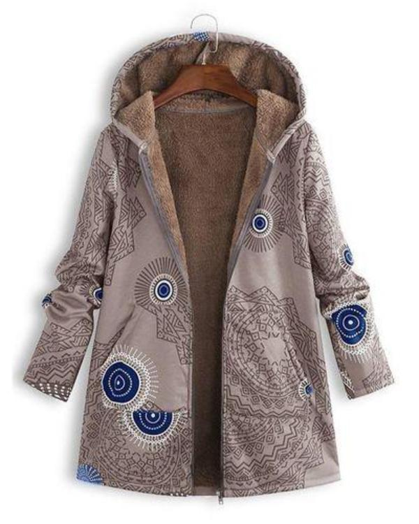Women Winter Vintage Geometric Print Plush Coat Loose Hooded Coat